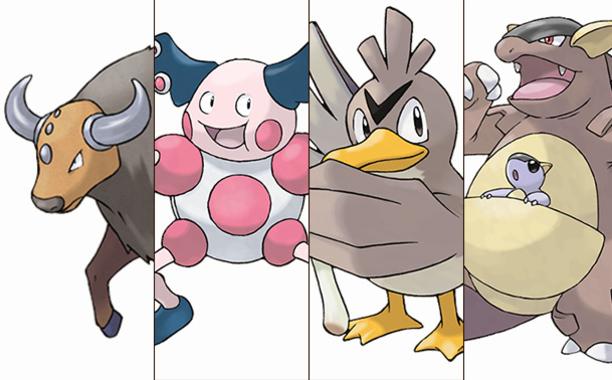 Tauros (América do Norte), Mr. Mime (Europa), Farfetch'd (Ásia) e Kangaskhan (Oceania): os Pokémon exclusivos de cada continente.