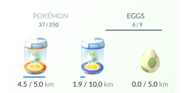 Da esquerda para direita: um ovo no Incubator infinito, um ovo no Incubator consumível e um ovo apenas armazenado.