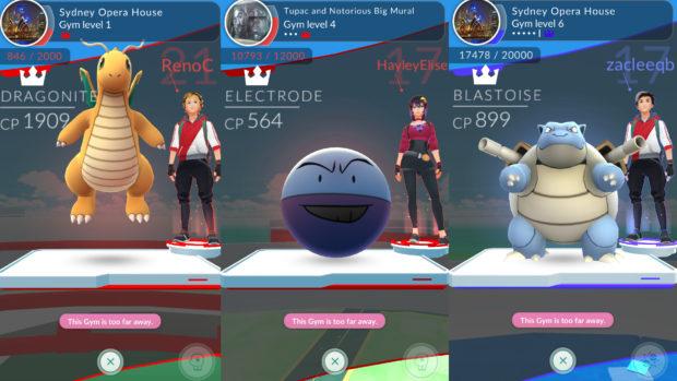 Na parte de cima da tela, você pode ver o nome do ginásio, a foto do lugar, o nível do ginásio e quantos Prestige Points ele tem.