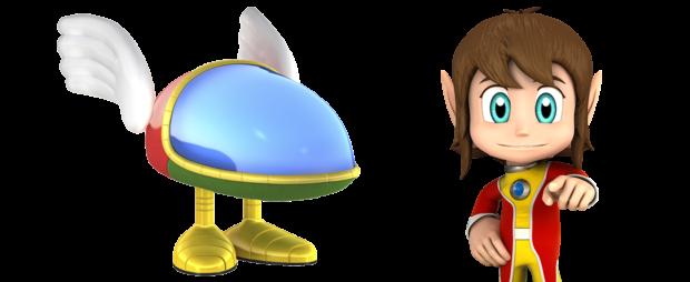 Opa-Opa e Alex Kidd, em suas versões modernas da série Sega All-Stars