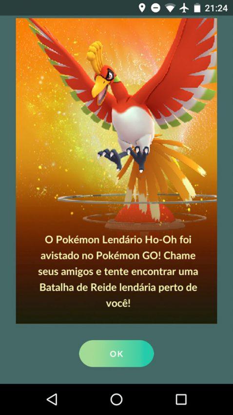 Pokémon Go Ho-Oh já disponível para captura