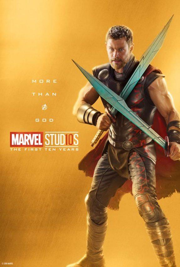 Pôster comemorativo dos 10 anos de Marvel nos cinemas: Thor
