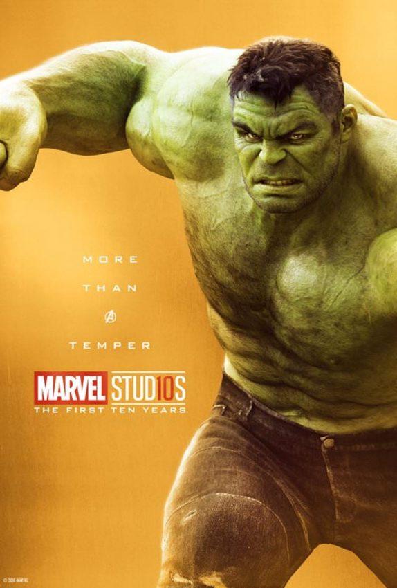Pôster comemorativo dos 10 anos de Marvel nos cinemas: Hulk