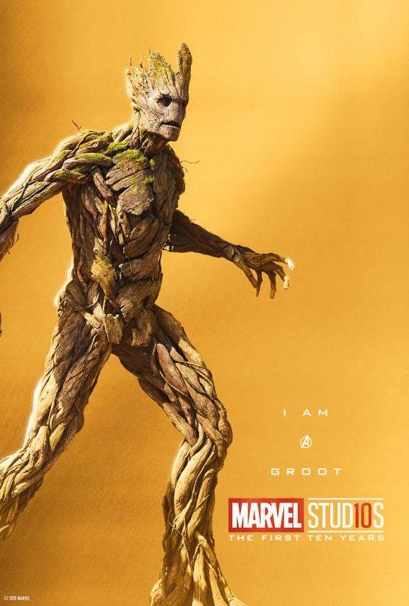 Pôster comemorativo dos 10 anos de Marvel nos cinemas: Groot