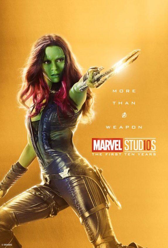 Pôster comemorativo dos 10 anos de Marvel nos cinemas: Gamora