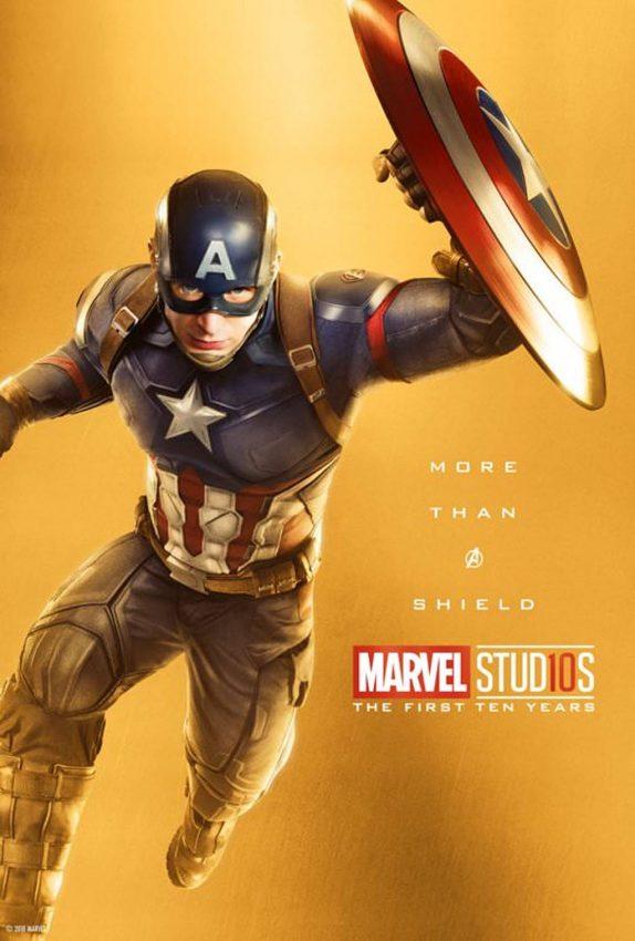 Pôster comemorativo dos 10 anos de Marvel nos cinemas: Capitão América