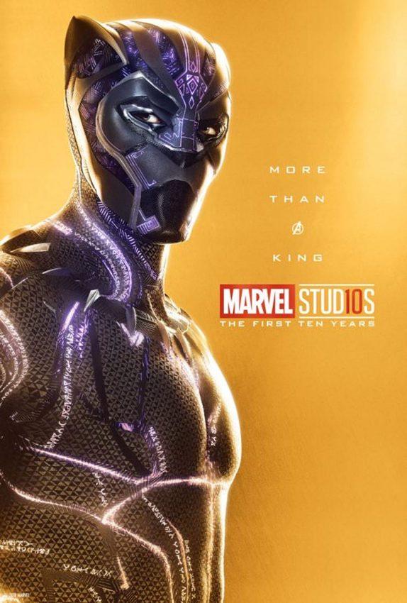 Pôster comemorativo dos 10 anos de Marvel nos cinemas: Pantera Negra