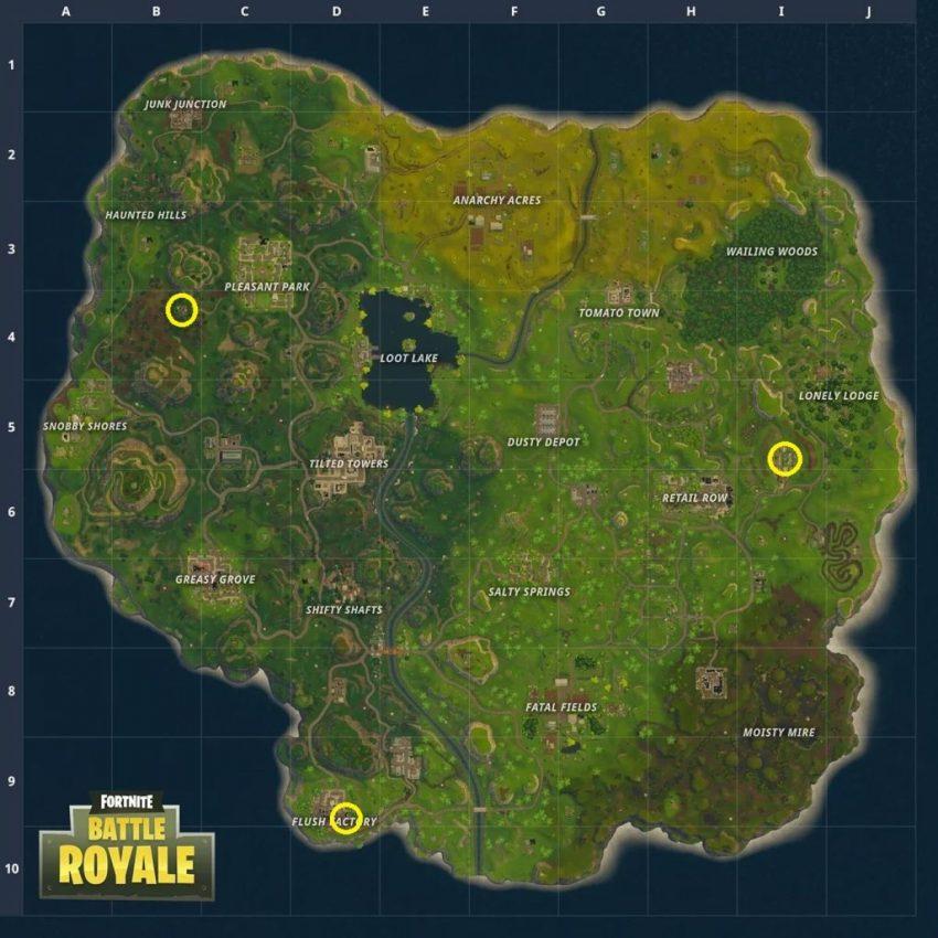 Mapa das pista de dança em Fortnite