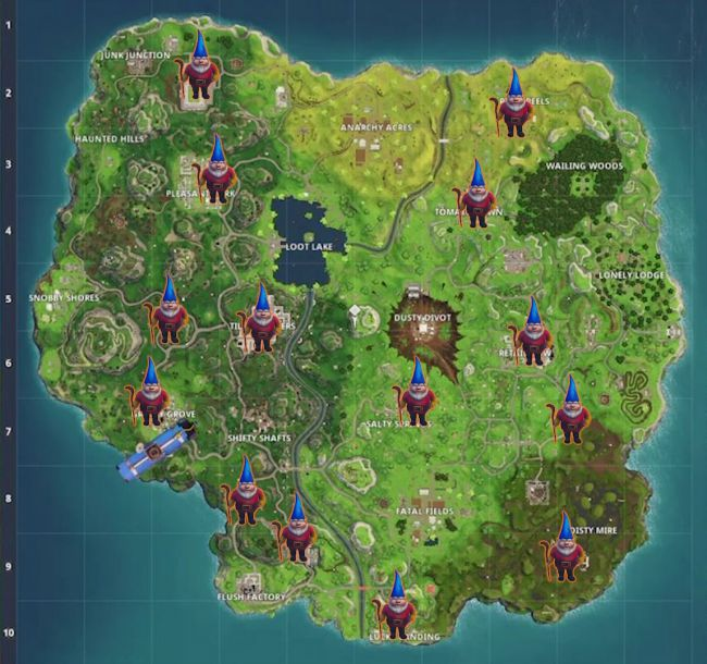 Mapa De Gnomos Fortnite.Fortnite Battle Royale Onde Encontrar Os 7 Gnomos Famintos