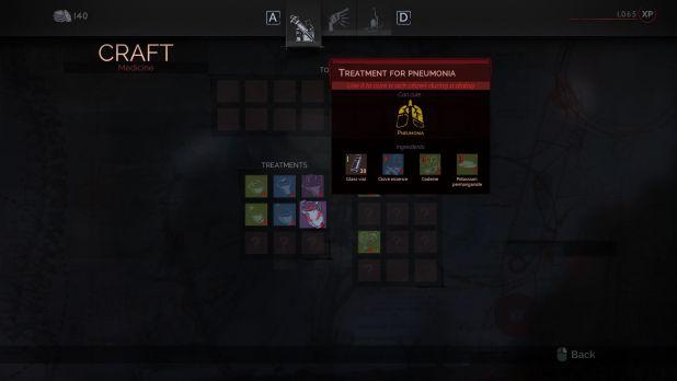 Dicas para usar medicamentos em Vampyr (Foto reprodução PrimaGames)